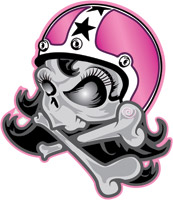 Lethal Threat Girl Skull Helmet Decal