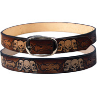 Embossed Barbed Wire Leather Belt