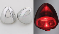 Motor City Cycle 60mm Bullet Red Chromed Lenses for Rear