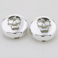 Motor City Cycle  Pop-On Smoked Lenses with Skull Graphic for Front or Rear