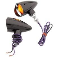 Headwinds 1-3/8″ Mariah Concours Rocket Black Metal Turn Signal with Chrome Bezel