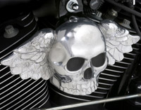 Chrome Dome Polished Winged Skull Horn Cover