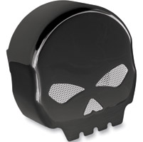 Drag Specialties Black Horn Cover with Chrome Profile Skull Insert
