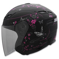 GMAX GM67 Butterfly Black and Pink Open Face Helmet