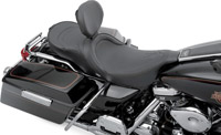 Drag Specialties Low-Profile Black Pinstripe Touring Seat with EZ Glide I Backrest