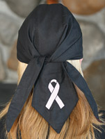 That's A Wrap Pink Ribbon on Black Headwrap