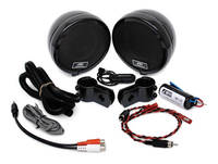 Rumble Road Premium Amplified Stereo Speakers Black With 1″ Mounting Hardware