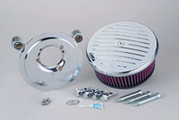 Arlen Ness Stage II Billet Sucker Kit for Evo Big Twin, Chrome Grooved Cover