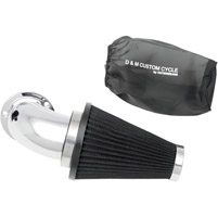 D&M Custom Cycle Flowmaster Air Cleaner Kit with Chrome Elbow and Black Filter