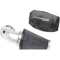 D&M Custom Cycle Flowmaster Air Cleaner Kit with Chrome Elbow and Stainless Steel Wired Black Filter