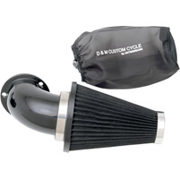 D&M Custom Cycle Flowmaster Air Cleaner Kit with Gloss Black Elbow and Black Filter