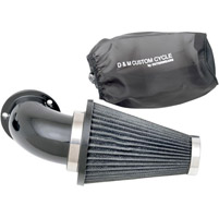 D&M Custom Cycle Flowmaster Air Cleaner Kit with Gloss Black Elbow and Stainless Steel Wired Black Filter