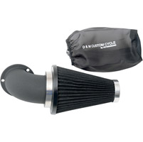 D&M Custom Cycle Flowmaster Air Cleaner Kit with Wrinkle Black Elbow and Black Filter