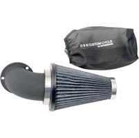 D&M Custom Cycle Flowmaster Air Cleaner Kit with Wrinkle Black Elbow and Stainless Steel Wired Black Filter