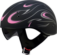 GMAX GM55 Flame Flat Black and Pink Half Helmet