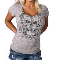 Hot Leathers Scoop Neck Skull Burn-Out T-Shirt