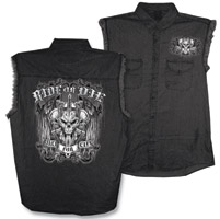 Hot Leathers Ride or Die Black Denim Sleeveless Shirt
