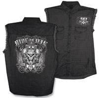 Hot Leathers Ride or Die Black Denim Sleeveless Shirt