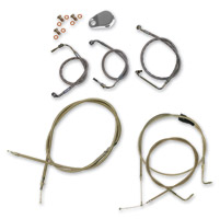 LA Choppers Polished Cable/Brake Line Kit for Mini Ape Bars on Models with ABS