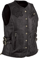 Ed Hardy Women's Do or Die Ed Hardy Black Extreme Length Snap Front Vest
