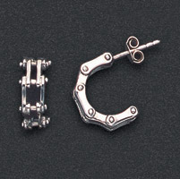 Wildthings Stainless Steel Earrings Stud Bike Chains
