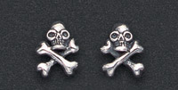 Wildthings Stainless Steel Earrings Stud Skull and Cross Bones