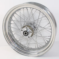 V-Twin Manufacturing 40-Spoke Complete Chrome Rear Wheel Assembly, 17