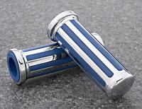 J&P Cycles® Custom Blue/Chrome Grip Set