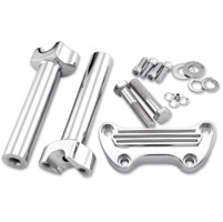 V-Twin Manufacturing Finned Style Handlebar Riser & Top Clamp Kit