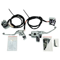 V-Twin Manufacturing Chrome Smooth-Contour Handlebar Control Kit with Switches