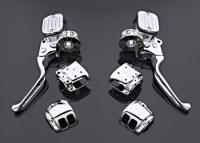 J&P Cycles® Handlebar Control Kit with Ball Milled Master Cylinder Covers