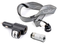 Spotlight-Led Silver Vehicle Socket Rechargeable Flashlight with Dual Socket/Lanyard