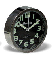 Marlin's Compact Black Analog Clock with Easy Read Numbers