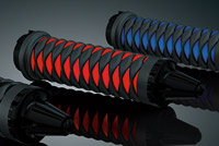 Kuryakyn Black and Red Iron Braid Grips for Harley With Dual-Cables
