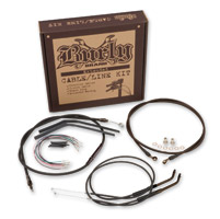 Burly Brand Black 14″ Ape Hanger Cable/Brake Kit/Wiring Kit