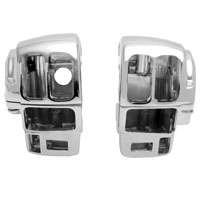 J&P Cycles Chrome Radiused Switch Housing Set with Radio and Cruise