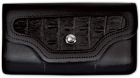Carroll Leather Black Croc Print Windshield Bag