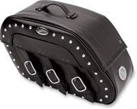 Saddlemen S4 Quick-Disconnect Desperado Saddlebags with LED Marker Lights and Chrome Studs