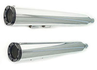 V-Twin Manufacturing Chrome Muffler Set with Short Black End Caps