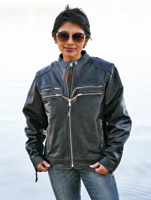 Carroll Leather Black Distressed Women's Gangster Jacket