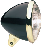 Headwinds 5-3/4″ Standard Bullet Headlight, High-Gloss Black & Brass