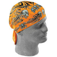 ZAN headgear Flydanna Orange with Tribal Skulls