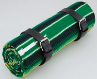 La Raza Roll-up Green Blanket with Plain Black Roll Strap