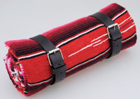 La Raza Roll-up  Red Blanket with Plain Black Roll Strap