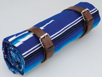 La Raza Roll-up Blue Blanket with Plain Brown Roll Strap