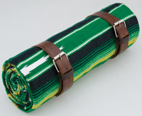 La Raza Roll-up Green Blanket with Plain Brown roll Strap