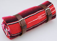La Raza Roll-up Red Blanket with Plain Brown Roll Strap