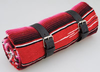 La Raza Roll-up Red Blanket with Greca Black Roll Strap