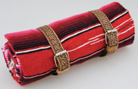 La Raza Roll-up Red Blanket with Greca Tan Roll Strap