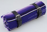 La Raza Roll-up Purple Blanket with Floral Black Roll Strap